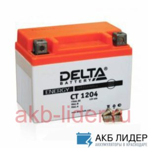 Мото-Аккумулятор DELTA BATTERY CT 1204 4А/ч-12V ст EN50 болт обратная 113x70x89, купить, заказать, цена, недорого, цена, отзывы, АКБ, аккумулятор, Краснодар, Кубань, Краснодарский край