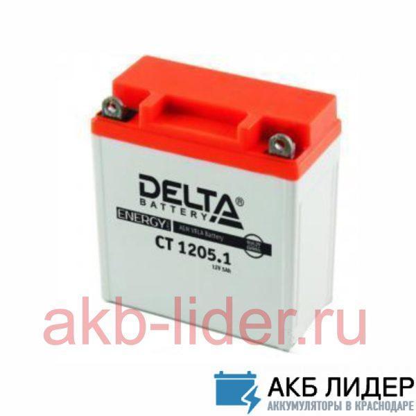 Мото-Аккумулятор DELTA BATTERY CT 1205 5А/ч-12V ст EN60 болт обратная 114x69x109, купить, заказать, цена, недорого, цена, отзывы, АКБ, аккумулятор, Краснодар, Кубань, Краснодарский край
