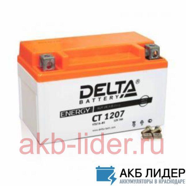 Мото-Аккумулятор DELTA BATTERY CT 1207 7А/ч-12Vст EN105 болт прямая 152x87x95, купить, заказать, цена, недорого, цена, отзывы, АКБ, аккумулятор, Краснодар, Кубань, Краснодарский край