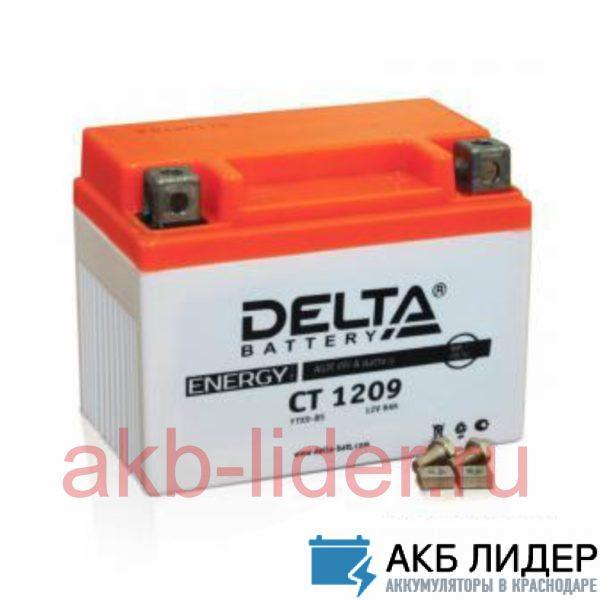 Мото-Аккумулятор DELTA BATTERY CT 1209 9А/ч-12Vст EN135 винтовая прямая 150x87x105, купить, заказать, цена, недорого, цена, отзывы, АКБ, аккумулятор, Краснодар, Кубань, Краснодарский край