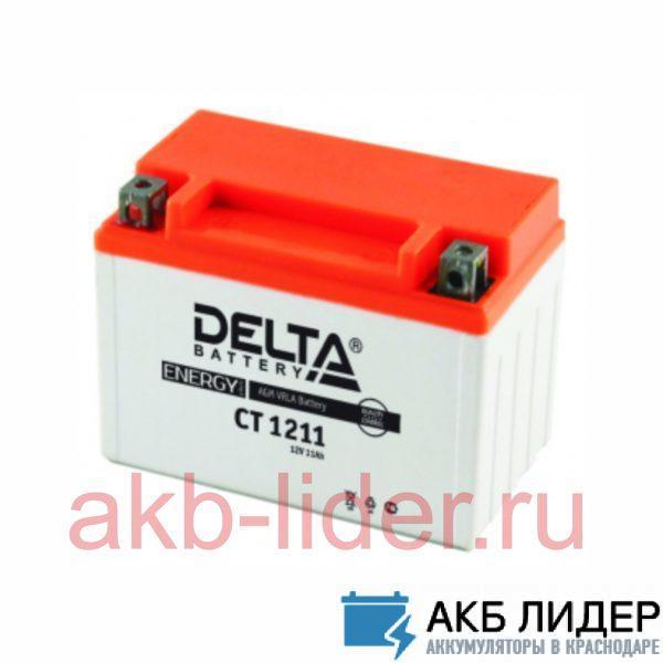 Мото-Аккумулятор DELTA BATTERY CT 1211 11А/ч-12Vст EN210 винтовая прямая 151x86x112, купить, заказать, цена, недорого, цена, отзывы, АКБ, аккумулятор, Краснодар, Кубань, Краснодарский край