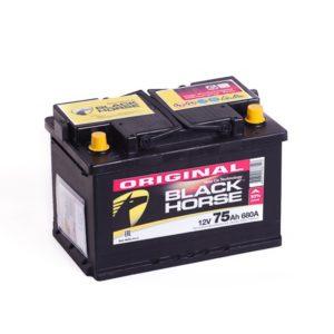 Аккумулятор автомобильный Black Horse 6СТ-75.0 12В 75Ач 680А обратная полярность низкий, купить, заказать, цена, недорого, цена, отзывы, АКБ, аккумулятор, Краснодар, Кубань, Краснодарский край